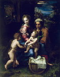 The Holy Family (La Perla) c.1518 (oil on panel) Wall Art & Canvas Prints by Leonardo da Vinci