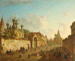View from the Lubyanka Square to the Vladimir Gate in Moscow (oil on canvas) Wall Art & Canvas Prints by French School