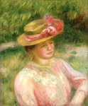 The Straw Hat, 1895 Poster Art Print by Pierre-Auguste Renoir