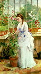 Young Lady in a Conservatory Fine Art Print by Julien Jacottet