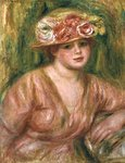 The Rose Hat or Portrait of Lady Hessling Wall Art & Canvas Prints by Pierre-Auguste Renoir