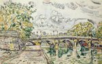 The Pont Neuf, Paris, 1927 (w/c) Wall Art & Canvas Prints by Paul Signac