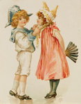 Party Time, Christmas postcard (colour litho) Wall Art & Canvas Prints by Carl Larsson