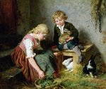 Feeding the Rabbits (oil on canvas) Wall Art & Canvas Prints by James Sant