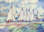 Blue Sailboats, 1989 (w/c on paper) Wall Art & Canvas Prints by Kan'en Iwasaki