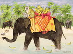 Elephants with Bananas, 1998 (acrylic on canvas) Fine Art Print by Virginio Livraghi