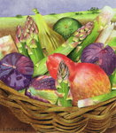 Red Pear with Figs and Asparagus, 1996 Fine Art Print by Claire Spencer
