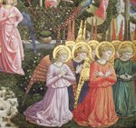 Angels in a heavenly landscape, the left hand wall of the apse, from the Journey of the Magi cycle in the chapel c .1460 (fresco) (detail of 70610) Fine Art Print by Benozzo di Lese di Sandro Gozzoli