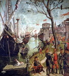 Arrival of St.Ursula during the Siege of Cologne, from the St. Ursula Cycle, 1498 (oil on canvas) Fine Art Print by Master Francke