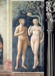 The Temptation of Adam and Eve, c.1427 Postcards, Greetings Cards, Art Prints, Canvas, Framed Pictures, T-shirts & Wall Art by Hubert Eyck