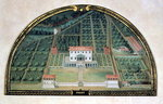 Villa Poggio a Caiano from a series of lunettes depicting views of the Medici villas, 1599 Wall Art & Canvas Prints by English School