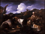 Herdsman with his flock (oil on canvas) Fine Art Print by Thomas Gainsborough