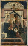 The Holy Family with donor in prayer and playing angels, c.1460 (tempera on pine wood) Wall Art & Canvas Prints by Il Sassoferrato