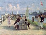 People on a Promenade Fine Art Print by Isaac Robert Cruikshank