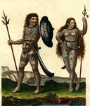 Aborigines of England: early Britons with their body decorations, 1804 Wall Art & Canvas Prints by Evangeline Dickson
