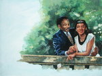 Coretta's Courtship, 2001 (oil on canvas) Fine Art Print by Colin Bootman