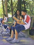 Family in the Park, 1999 (oil on canvas) Fine Art Print by Colin Bootman