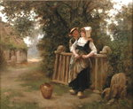 Rustic Courtship Fine Art Print by Charles James Lewis