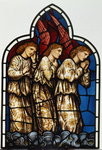 Three Angels, stained glass window removed from the east window of St. James' Church, Brighouse, West Yorkshire Fine Art Print by Dante Gabriel Rossetti