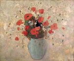 Vase of poppies Poster Art Print by Karen Armitage