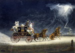 The Mail Coach in a Thunderstorm, engraved by R.G. Reeve, 1827 Fine Art Print by Adrien Manglard