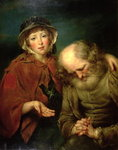 The Blind Beggar and his Grand-Daughter Fine Art Print by James Hayllar