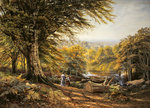 The charcoal burners near Weybridge, Surrey, 1870 Fine Art Print by Franz W. Seiwert