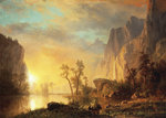 Sunset in the Rockies Fine Art Print by Albert Bierstadt