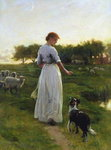 A Shepherdess with her Dog and Flock in a Moonlit Meadow Fine Art Print by Niko Pirosmani
