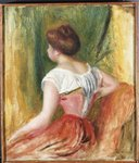 Seated Young Woman Postcards, Greetings Cards, Art Prints, Canvas, Framed Pictures, T-shirts & Wall Art by Pierre-Auguste Renoir