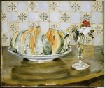 Still life of a melon and a vase of flowers, c.1872 Fine Art Print by Pierre Auguste Renoir
