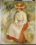 Gabrielle in a Straw Hat, 1900 Postcards, Greetings Cards, Art Prints, Canvas, Framed Pictures, T-shirts & Wall Art by Pierre-Auguste Renoir