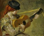 Girl with a Guitar, 1897 Wall Art & Canvas Prints by Pierre Auguste Renoir