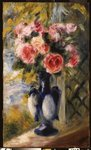 Roses in a Blue Vase, 1892 Postcards, Greetings Cards, Art Prints, Canvas, Framed Pictures & Wall Art by Claude Monet