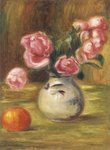 Vase of Roses and an Orange, 1910 Wall Art & Canvas Prints by Claude Monet