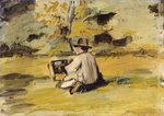 A Painter at Work Wall Art & Canvas Prints by Henri Joseph Constant Dutilleux