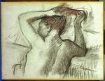 Nude Combing her Hair Postcards, Greetings Cards, Art Prints, Canvas, Framed Pictures, T-shirts & Wall Art by Pierre-Auguste Renoir