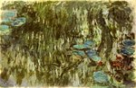 Water Lilies, Reflected Willow, c.1920 Wall Art & Canvas Prints by Claude Monet