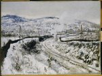 Train in the Snow at Argenteuil Fine Art Print by Claude Monet