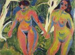 Two Nude Women in a Wood, 1909 Wall Art & Canvas Prints by Amedeo Modigliani