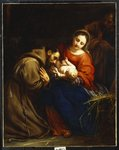 The Holy Family with St. Francis, 1665 Fine Art Print by Frans II the Younger Francken