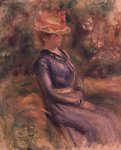 Girl wearing a straw hat Fine Art Print by Pierre-Auguste Renoir
