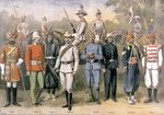 English colonial armies in their respective uniforms in celebration of the Jubilee of Queen Victoria, 21 June 1883, illustration from 'Le Petit Journal', 1899 Fine Art Print by Clive Uptton