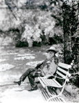 Claude Monet (1841-1926) in his garden at Giverny, c.1920 (b/w photo) Fine Art Print by French School