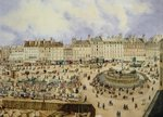 View of the Place de la Republique and the Fountain, 1848 Fine Art Print by Philippe Benoist