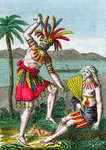 Native inhabitants of the Marquesas Islands, illustration from 'Histoire des Voyages Autour du Monde' by J. Dufay, published by Courvalet & Co., Paris, 1826 Wall Art & Canvas Prints by Jacques Grasset de Saint-Sauveur