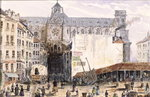 View of St. Eustache seen from the Rue Montmartre, 1830 Fine Art Print by Henri Courvoisier-Voisin