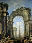 Landscape with Ruins Wall Art & Canvas Prints by Thomas Couture