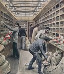 Interior of a French railway postal wagon at the time of the French Postal Strike in 1909, illustration from 'Le Petit Journal', 28th March 1909 Fine Art Print by P.J. Crook