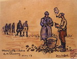 Soldiers peeling potatoes during the First World War at Marizelle in the Aisne Department, France, 1917 Fine Art Print by Sarah Thompson-Engels